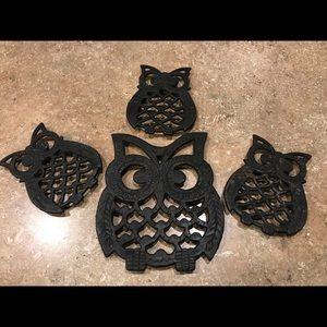 Metal owls.